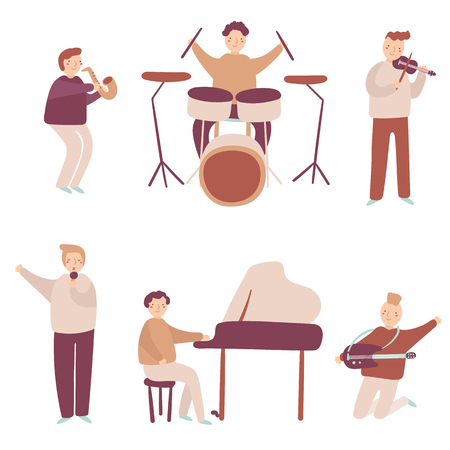 Musicians set including saxophone, drums, piano, guitar, violin and singer. People set with musical instruments Illustration