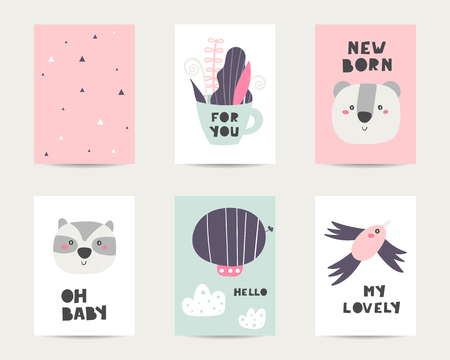 Baby shower cute cards, postcards, invitations, pages with bird, cloud, koala, raccoon, zeppelin, cup with plants, lettering quotes oh baby, new born Funny cover for kids Ilustração