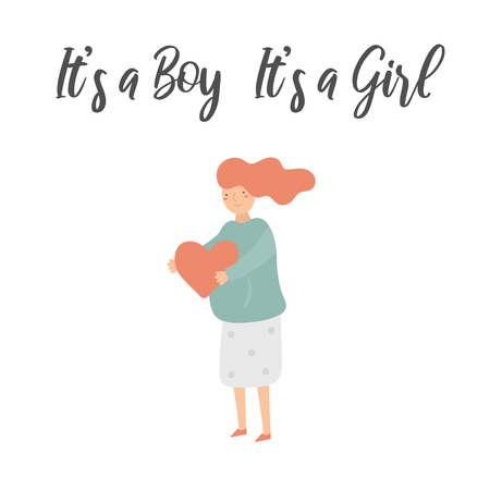 Pregnant woman expecting boy, girl, twins. Young lady holding heart. Its a boy, Its a girl illustration for mother 向量圖像