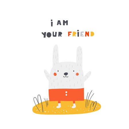 Cute rabbit with lettering quote i am your friend. Background, card, postcard, print with funny animal for kids