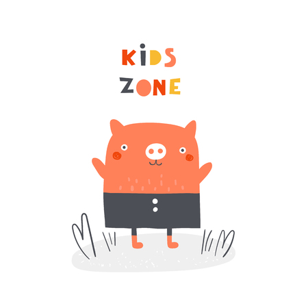 Cute pig with lettering quote kids zone. Background, card, postcard, print, banner with funny animal for kids playroom, playground, play zone Ilustração