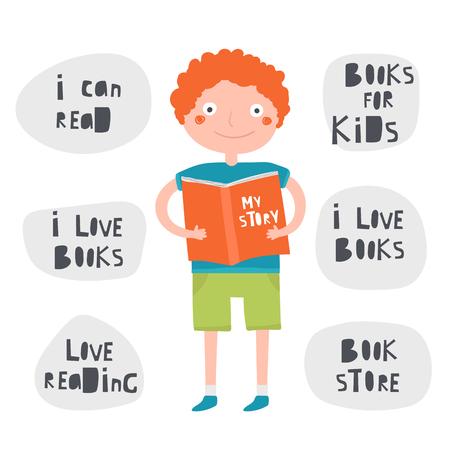 Boy holding, reading book. Banners set for book store, shop, club Ilustração
