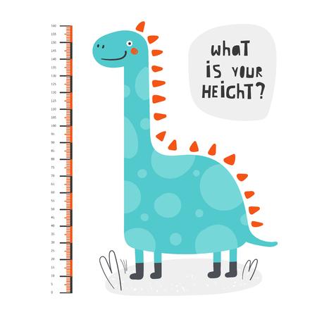 Misura dell'altezza del bambino, centimetro, grafico con dinosauro per parete, interno della stanza. Dino divertente per bambini Vettoriali