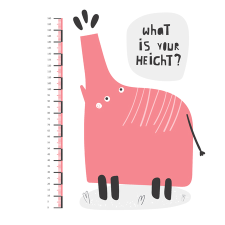 Kid height measurement, centimeter, chart with elephant for wall, room interior. African animal for children