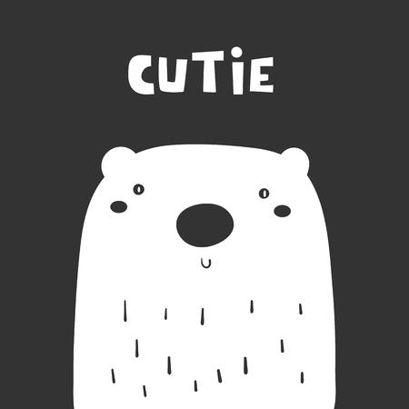 Cute white polar bear on black background. Funny north pole animal for kids. Card, postcard, wall print with bear Standard-Bild - 124418848