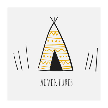 Cute hand drawn doodle north america tepee. Card, postcard, wall print, poster with indian ethnic house for kids Illustration