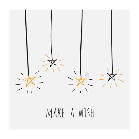 Make a wish poster, banner, card, postcard with shiny doodle hand drawn stars. Positive banner for birthday, party, christmas