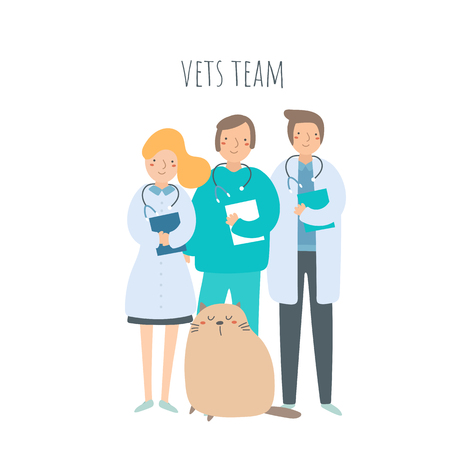 Veterinarian team with cat. Pet doctors set