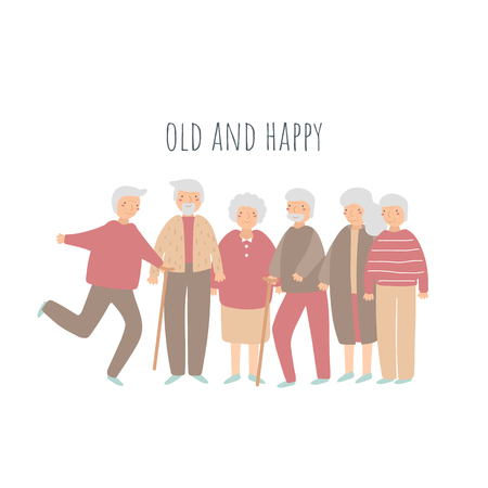 Old people, seniors, pensioners set. Grandmothers, grandfathers collection. Happy pensioners dancing, walking playing with cat