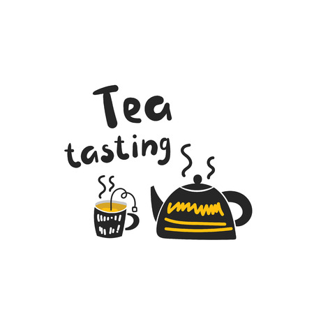 Tea tasting illustration with cup of tea, boiling kettle. Traditional black aromatic tea. Background with hot drink Vektorové ilustrace