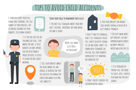 Tips to avoid child accidents infographic. Recommendations for parents about child safeness. Advises about how to avoid danger for kids.