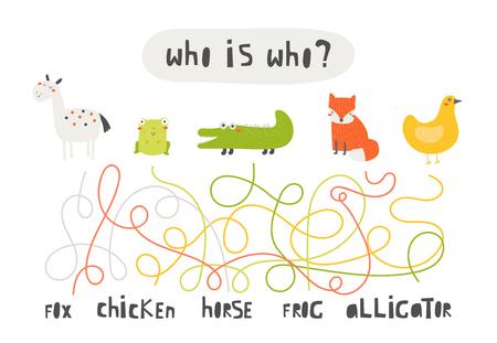 Simpatico rebus, test, attività, ricerca logica per bambini. Labirinto divertente, puzzle con cavallo, rana, alligatore, volpe, pollo Trova la ricerca animale giusta Vettoriali