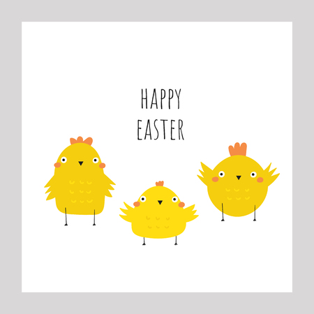 Cute doodle easter card, postcard, tags, poster with yellow chickens. Funny holiday illustrations in childish style