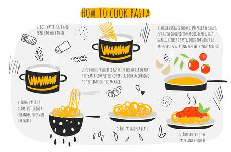 Cómo cocinar pasta guía, instrucciones, pasos, infografía. Ilustración con macarrones Ilustración de vector