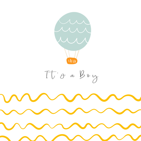 Baby shower, nursery card, postcard, tag, cover with hot air blue balloon, waves. Funny doodle objects for new born infant. Its a boy illustration Illustration