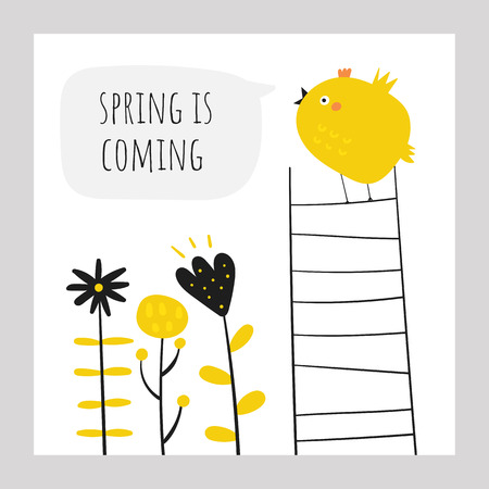 Cute doodle easter card, postcard, tags, poster with yellow chicken singing a son, flowers, plants, text space Funny holiday illustrations in childish style
