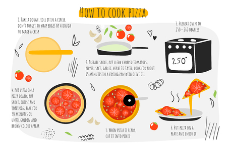 How to cook pasta guide, instructions, steps, infographic.