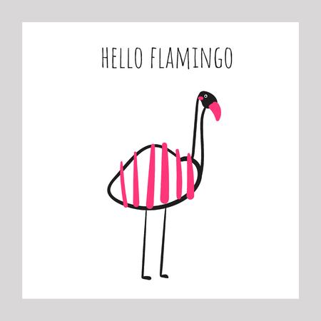 Flamingo with stripe pattern. Card, postcard, print, wall poster with pink bird for kids, recreation, rehabilitation park, center, zoo Ilustração