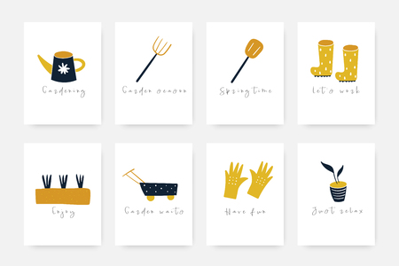 Hand drawn doodle garden tools collection including rubber boots, gloves, plants, cart, pot, shovel, rake, soil, watering can. Spring season objects collection