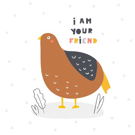 Caille mignonne pour les enfants. Je suis ta carte d'ami, carte postale, affiche avec oiseau pour enfants, baby shower