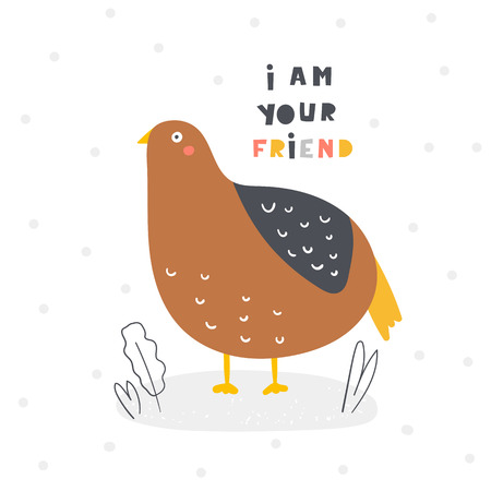 Cute quail for kids. I am your friend card, postcard, poster with bird for children, baby shower