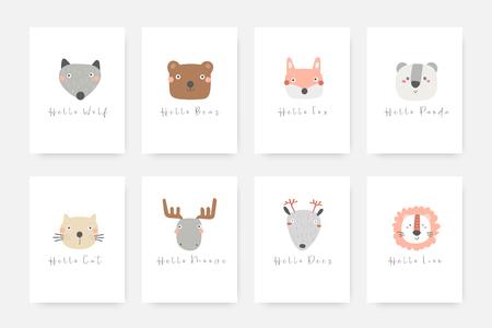 Conjunto de animales que incluye lobo, oso, zorro, panda, gato, alce, ciervo, león. Dibujado a mano lindo doodle tarjetas, postales, carteles con animales para niños letras cita hola