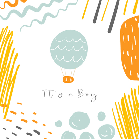 Baby shower, nursery card, postcard, tag, cover with hot air blue balloon, waves.