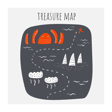 Treasure map with octopus, clouds, storm, riffs, ship route, waves, ocean. Illustration