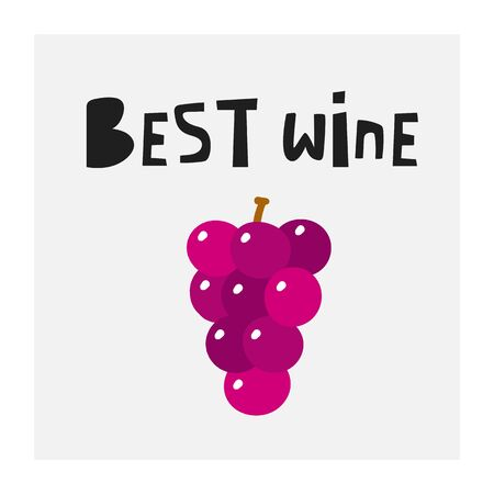 Best wine poster with grape berries, text space. Illustration for winery, restaurant, pub, wine tasting event