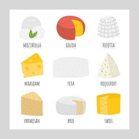 Hand drawn cheese collection including feta, mozzarella, swiss, roquefort, edam, maasdam, parmesan, cheddar, brie, ricotta