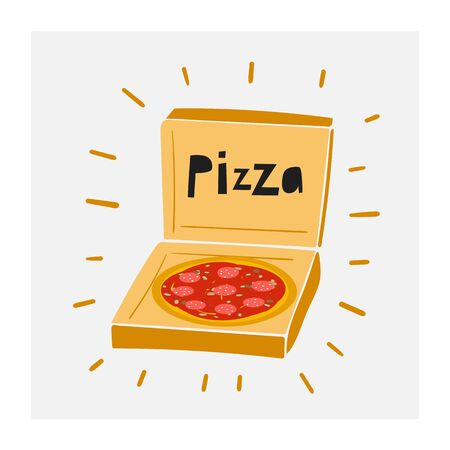 Cute hand drawn doodle pizza with tomatoes in cardboard box. Illustration for pizzeria menu restaurant
