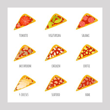 Cute hand drawn doodle pizza set including pizza with cheese, seafood, chicken, ham, vegetables, mushrooms, tomatoes, salami, exotic fruits.