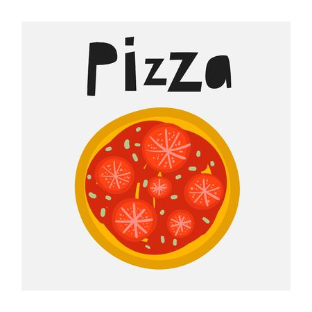 Cute hand drawn doodle pizza with tomatoes with lettering quote. Illustration for pizzeria menu Ilustracja