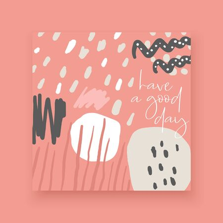 Cute hand drawn abstract style cards, brochures, invitations with abstract elements, stripes, dots