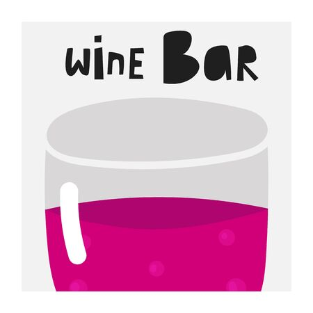 Wine bar poster with glass of wine, text space. Illustration for winery, restaurant, pub Ilustracja