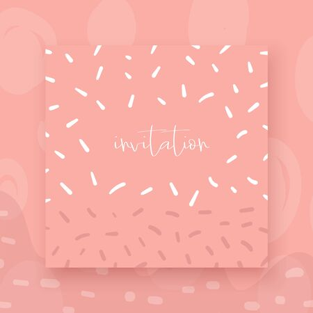 Cute hand drawn abstract style valentine, wedding cards, brochures, invitations with abstract elements, stripes, dots, strokes, text space in pink color