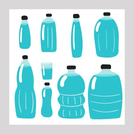 Hand drawn doodle water bottles set. Card, poster, flyer, page, cover with water, glass plastic containers