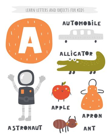 A letter objects and animals including astronaut, alligator, apple, apron Ilustracja