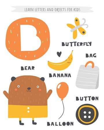 B letter objects and animals including bear, banana, button, butterfly, bag, balloon. Learn english alphabet, letters Ilustracja