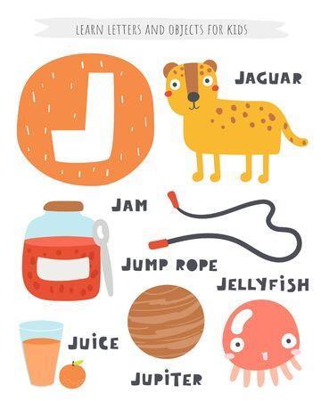 J letter objects and animals including jaguar, jam, jump rope, juice, jupiter planet, jellyfish.