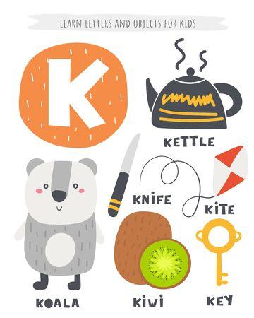 K letter objects and animals including koala, kite, kettle, key, kiwi, knife.