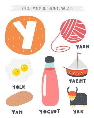 Y letter objects and animals including yam, yolk, yogurt, yak, yacht, yarn.