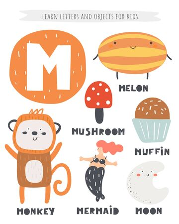 M letter objects and animals including melon, monkey, mushroom, muffin, mermaid, moon.