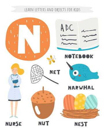 N letter objects and animals including nurse, nut, net, notebook, nest, narwhal