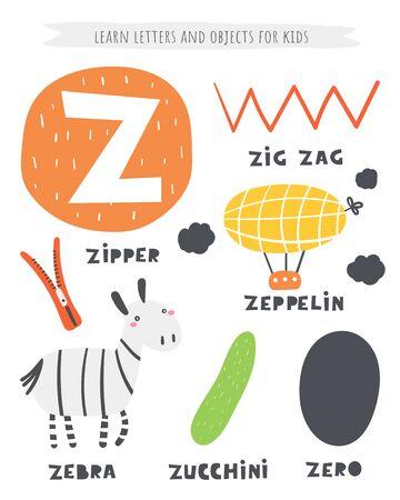 Z letter objects and animals including zig zag, zeppelin, zero, zucchini, zipper, zebra.