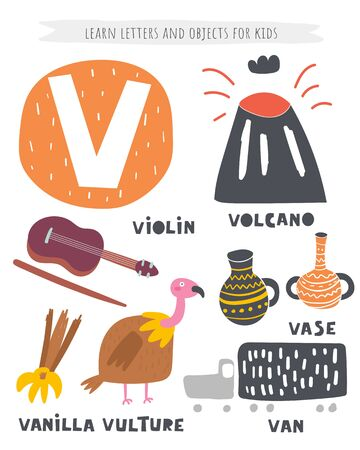 V letter objects and animals including volcano, vase, van, vanilla, violin, vulture. Learn english alphabet, letters