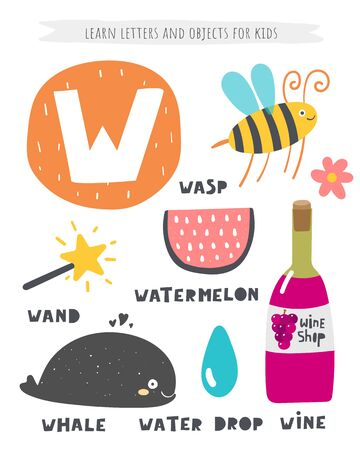 W letter objects and animals including wasp, whale, wand, watermelon, wine, water drop.