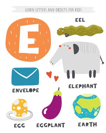 E letter objects and animals including elephant, eel, egg, eggplant, envelope, earth. Learn english alphabet, letters