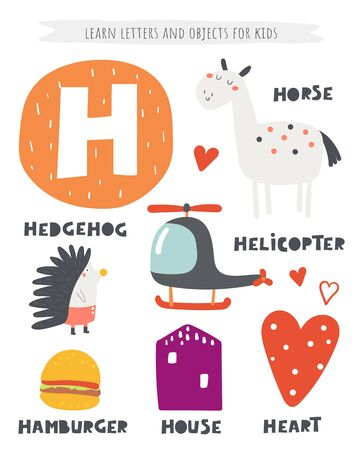 H letter objects and animals including hedgehog, helicopter, horse, heart, house, hamburger. Learn english alphabet, letters, words Ilustracja