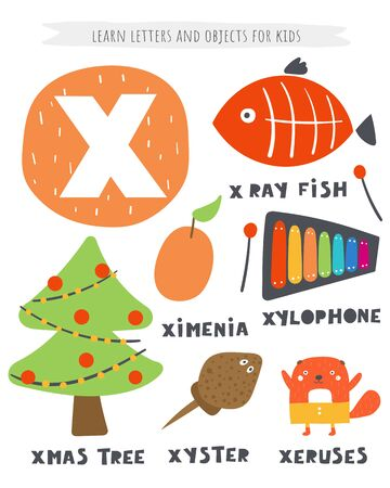 X letter objects and animals including Xmas tree, x ray fish, ximenia, xylophone, xyster, xeruses. Ilustracja